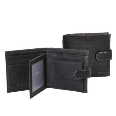 Black Leather Tab Wallet