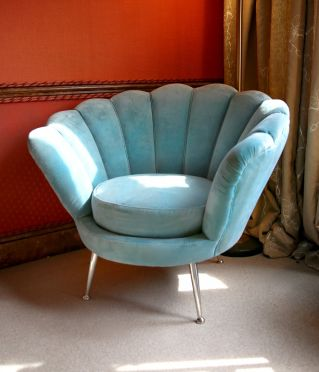 Shell Back Velvet Chair