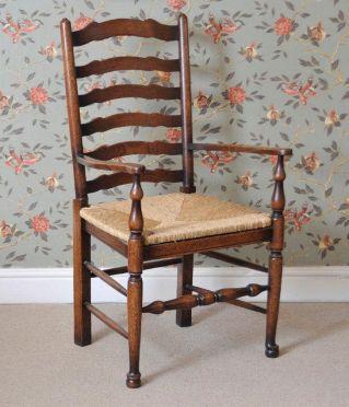 English Oak Ladder Back Armchair