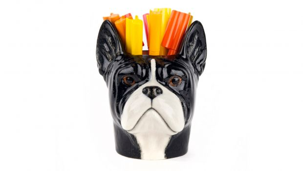 Quail French Bulldog Pencil Pot