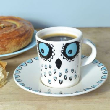 Hannah Turner Owl Espresso Cup and Saucer