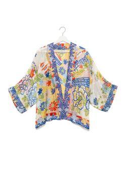 Silk Pagoda Print Short Kimono