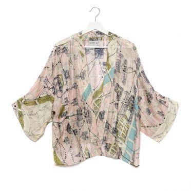 Silk Paris Print Short Kimono