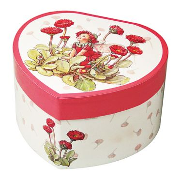Red Daisy Flower Fairy Musical Jewellery Box