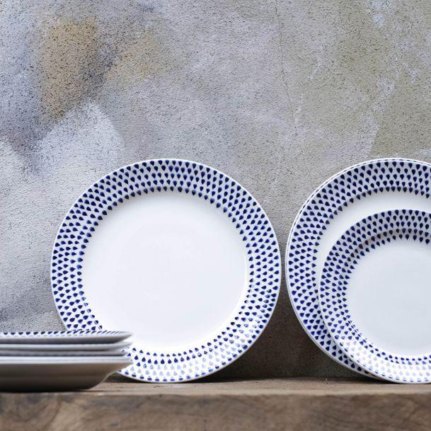 Rossiters Of Bath Nkuku Indigo Drop Ceramic Dinner Plate