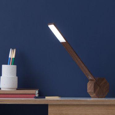 Octagon Desk Lamp Walnut